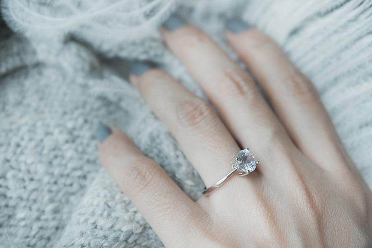婚約指輪をつける指