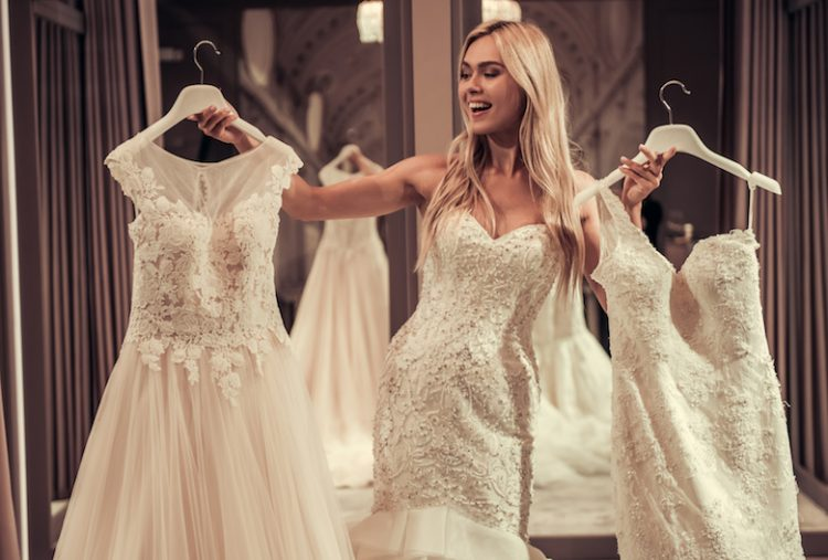 Attractive bride in wedding salon