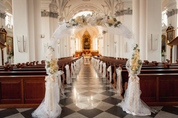 church sanctuary before a wedding ceremony