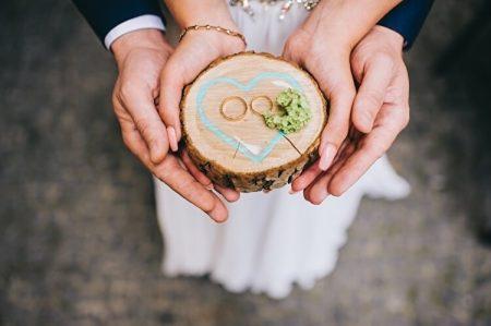 結婚指輪を持つカップル