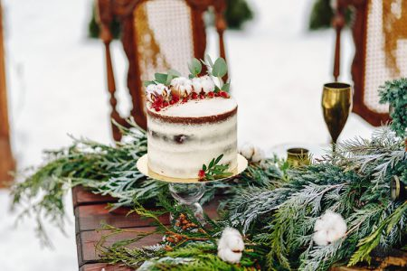 クリスマスウェディングのケーキ