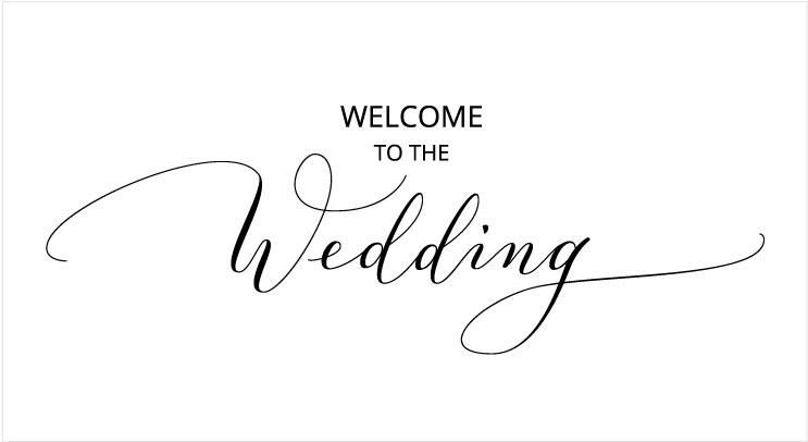 モダンカリグラフィーの例(welcome to the wedding)