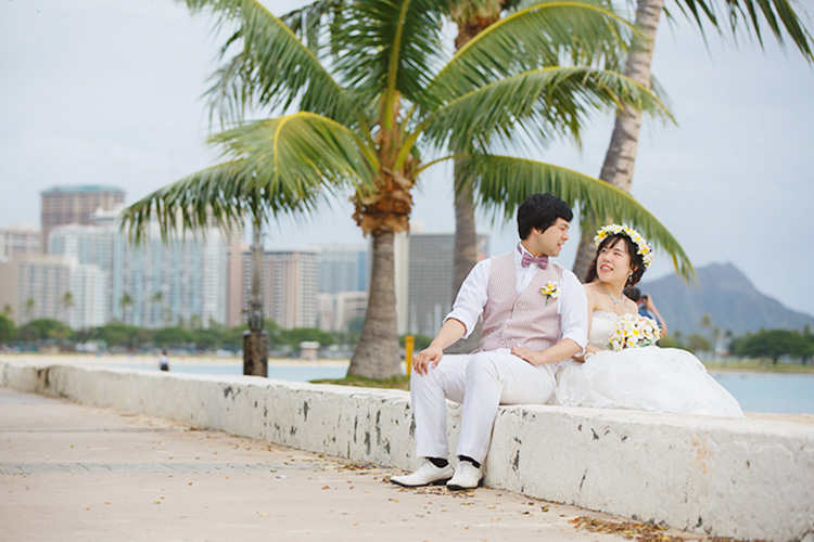 新婚旅行先のハワイで後撮りしました