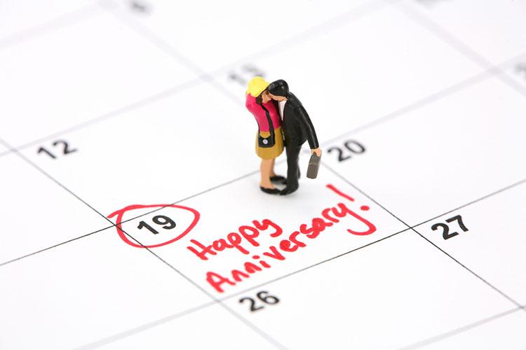 結婚記念日の書かれたカレンダー