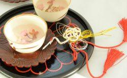 鶴の水引とお茶