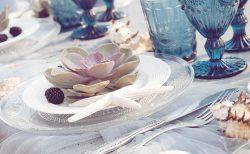 海がテーマのゲストテーブルコーディネート